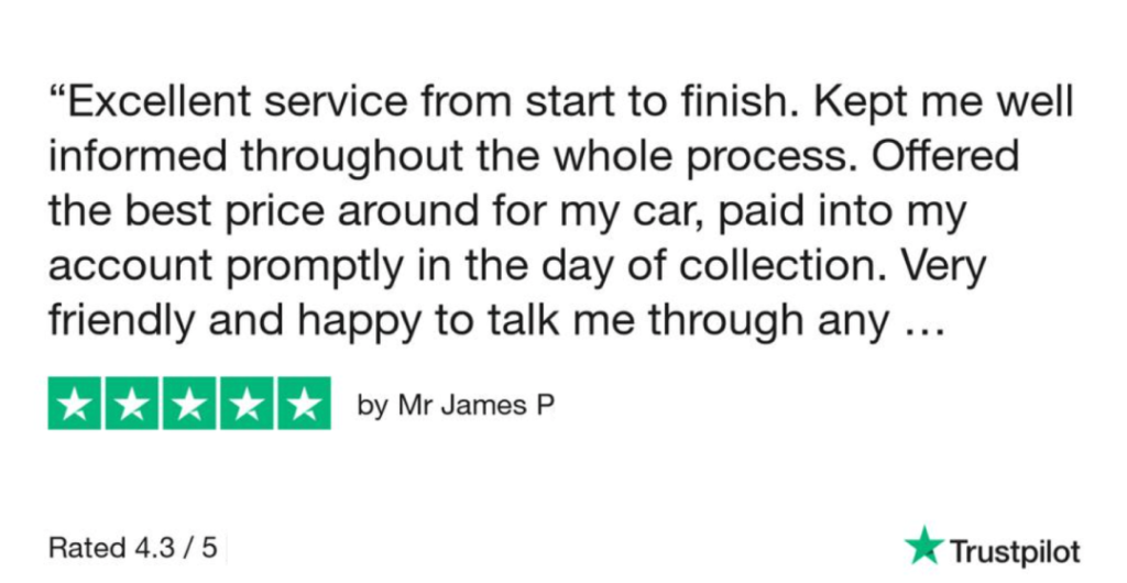 5-Star-Review-from-James-P-for-Sell-My-Car-Essex